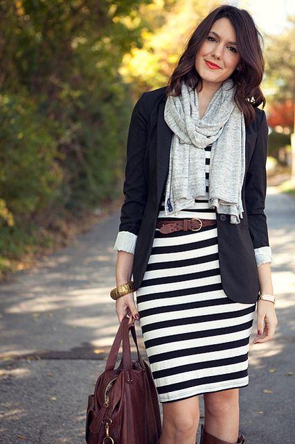 Black/white striped dress, black blazer, brown belt, brown boots