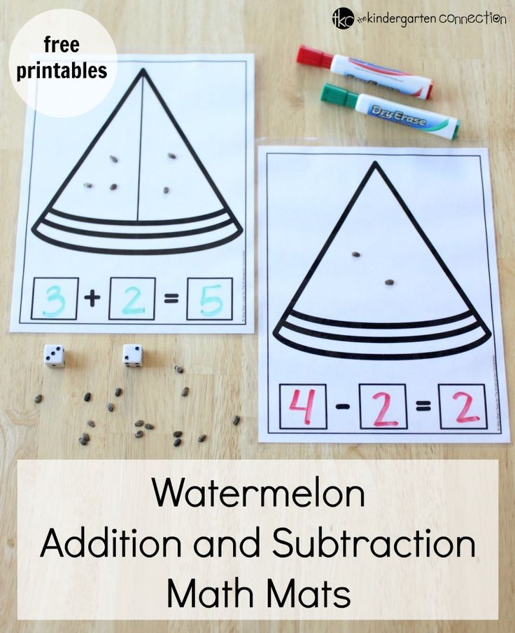 These watermelon addition and subtraction math mats are perfect for preschoolers and kindergartens to practice addition and subtraction!