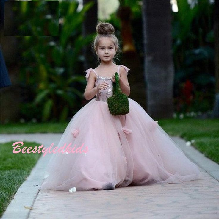 Devine  Girls Princess Blush Pink Floor Length Tulle Gown. Also avail in Other colours