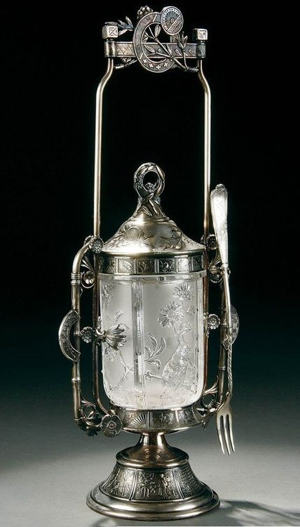 Late Victorian sterling silver and glass pickle castor.