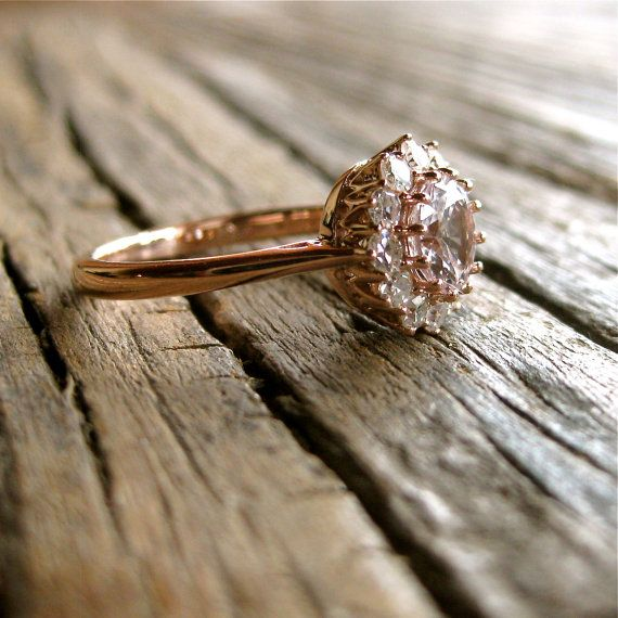 (White Sapphire/ Diamonds ring)   White Sapphire Engagement Ring in 14K Rose Gold with Single Cut Diamonds in Antique-Style Setting