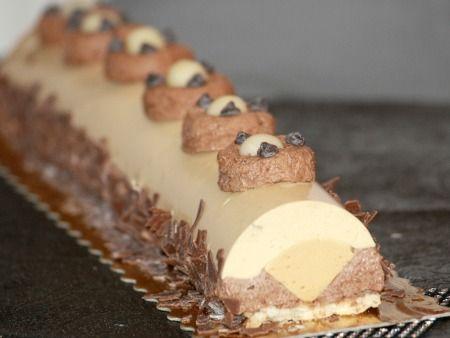 recette de cuisine bûche au caramel et mousse chocolat