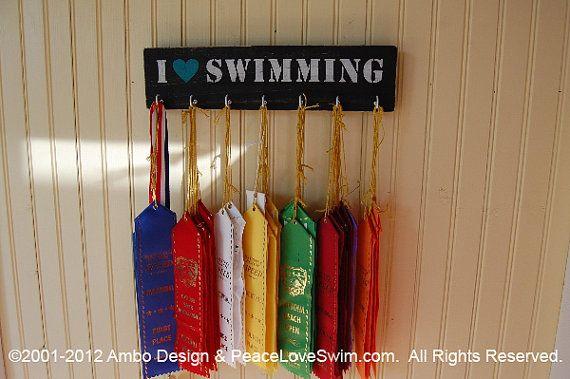 I Love Swimming Ribbon Hanger Display - Wood Wall Rack - Customization & Personalization Available via Etsy