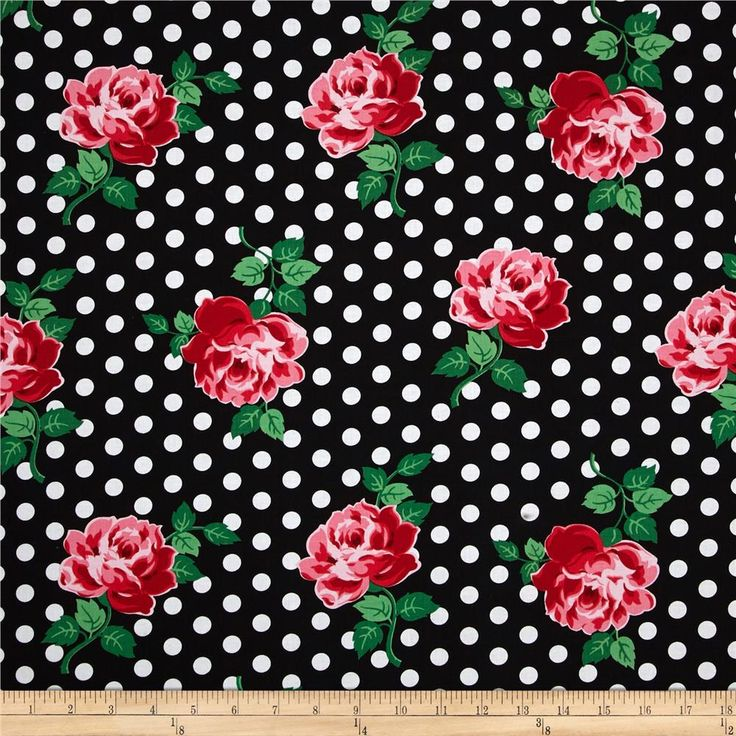 Designed for Michael Miller, this cotton print fabric is perfect for quilting, apparel, and home decor accents. Colors include black, white, shades of red, shades of green, and shades of pink.