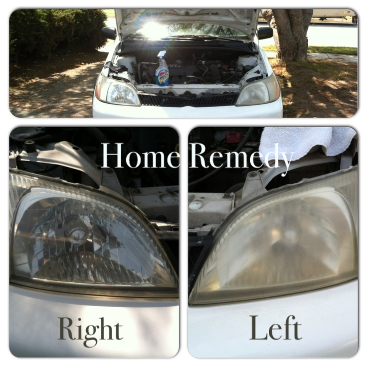 Fix foggy headlights with homemade stuff. Toothpaste, windex, and a sock..  Spray windex on light (be generous) and then put toothpaste on sock (you will need about a tablespoon for the job) and rub in and keep spraying with windex as you rub in the toothpaste.   To remove take a clean rag. And boom..clean headlights.
