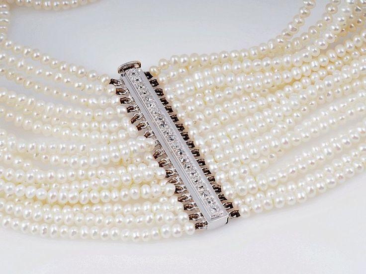 antikes Zucht Perlen Collier Kette collier de chien Diamanten 750 Gold  | eBay