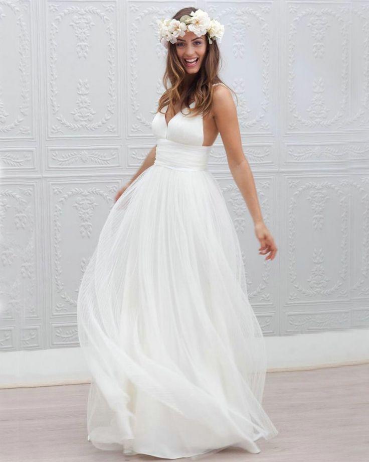 Summer Wedding Dresses Open Back Long vestido de noiva 2015 Spaghetti Straps Vestidos Beach Wedding Dress Tulle Ivory-in Wedding Dresses from Weddings & Events on Aliexpress.com   Alibaba Group