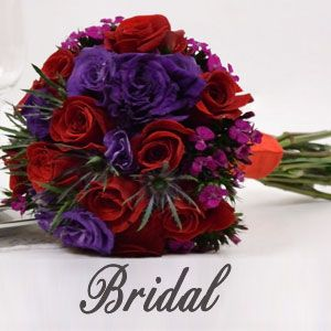 Red Rose & Purple Lisianthus bridal wedding floral collection delievry included