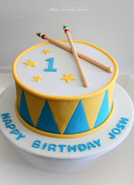 Gorgeous boy's first birthday drum cake from Anna Trivedi Cakes