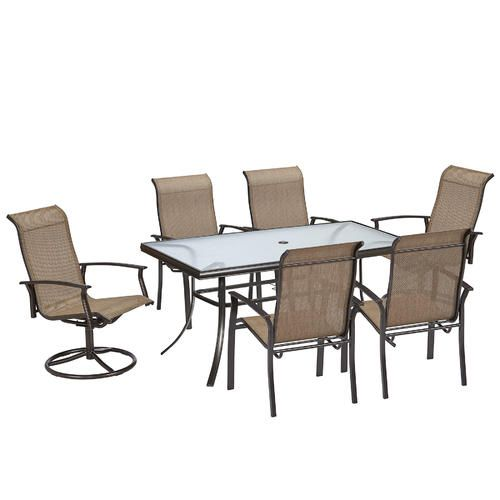 Garden Oasis Harrison 7 Pc Textured Glass Top Dining Set Sears