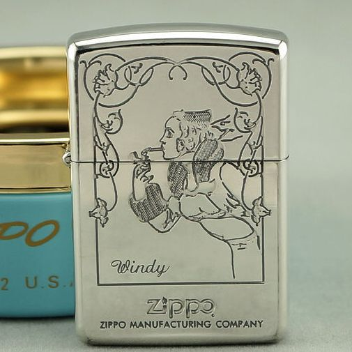 1994 Plated Silver Zippo Windy Girls Lighter With Ashtray