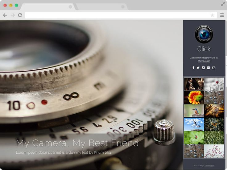 Click is a Free Responsive HTML5 Photography Template. Designed with HTML5 & Bootstrap 3. Amazing photography website template for freelance photographer.