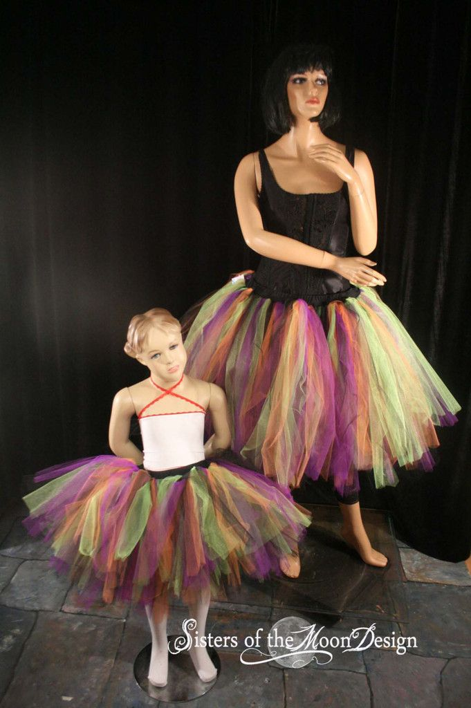 Mommy and me matching tutu skirts adult child halloween witch Streamer knee length set pair costume #halloweencostume #witch #tutu #tulleskirt #costume
