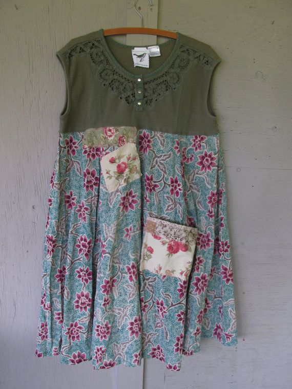 flowing summer dress upcycled clothing Romantic dress Funky