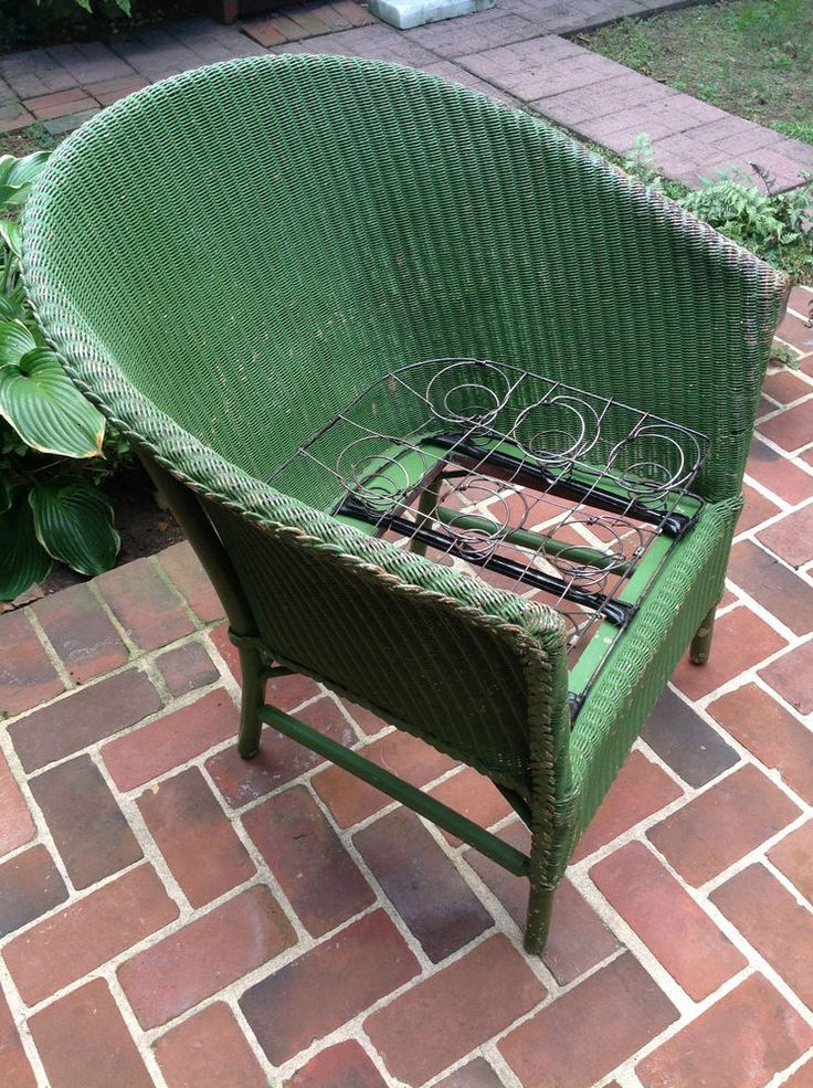 Antique Wicker Chair Vtg Metal Spring Cushion Deco Green