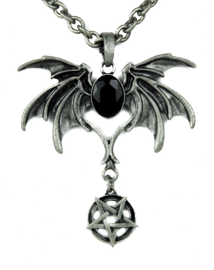 Black Stone Bat Death Wings Necklace Gothic Pendant with Inverted Pentagram