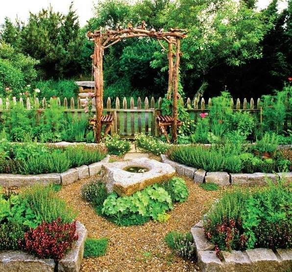 Vegetables Herbs Garden Ideas Wooden Garden Fence Wooden Pergola Stone  Raised Beds