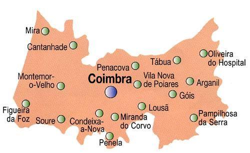 Mapa do Distrito de Coimbra, Portugal