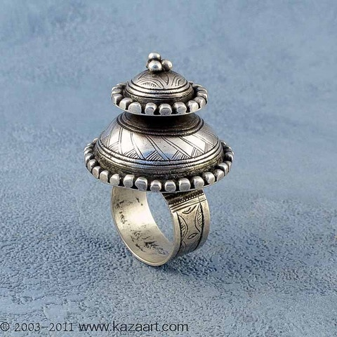 Tuareg  Silver Domed Ring    Collected in Mali   Late 20th century.  Silver alloy.
