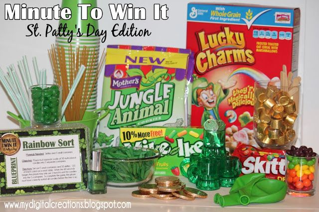 St Patrick's Day Minute To Win It Game Cards - perfect family game night activity to celebrate the holiday with kids!!!