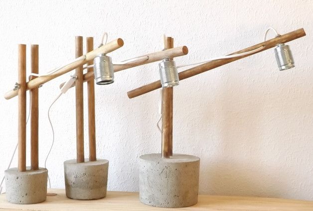 """Bedside Lamps – Lamp """"concrete"""" – a unique product by HetHoutje on DaWanda"""
