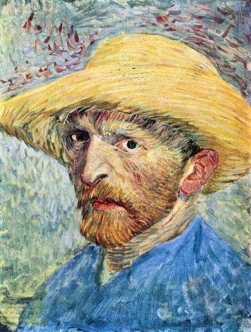 Autoritratto con cappello di paglia e maglia blu