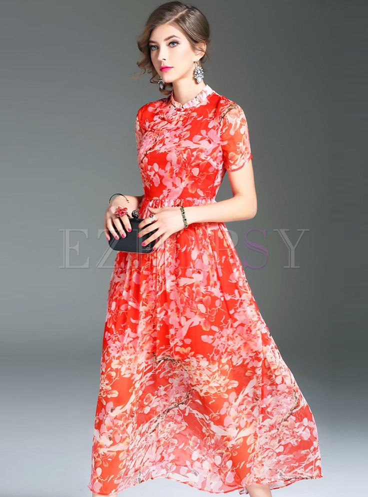 Shop for high quality Sweet Print Short Sleeve Maxi Dress online at cheap prices and discover fashion at Ezpopsy.com
