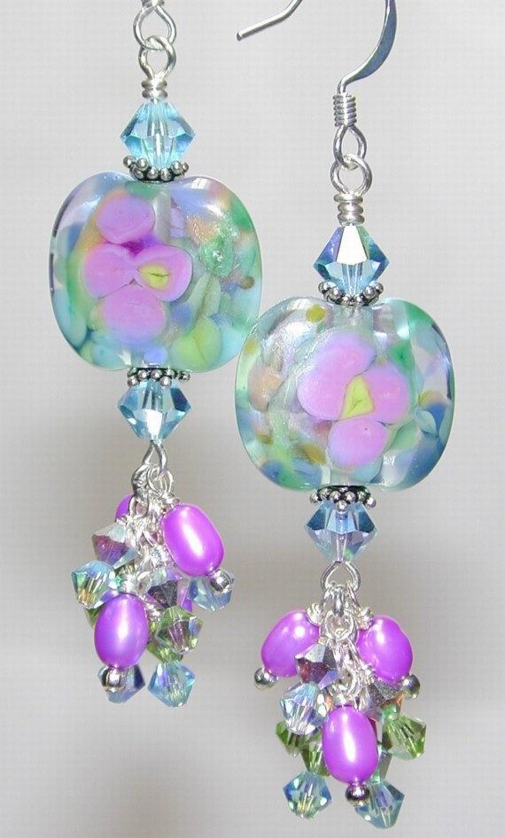 Blue Island Tropics Handmade Lampwork Bead Earrings
