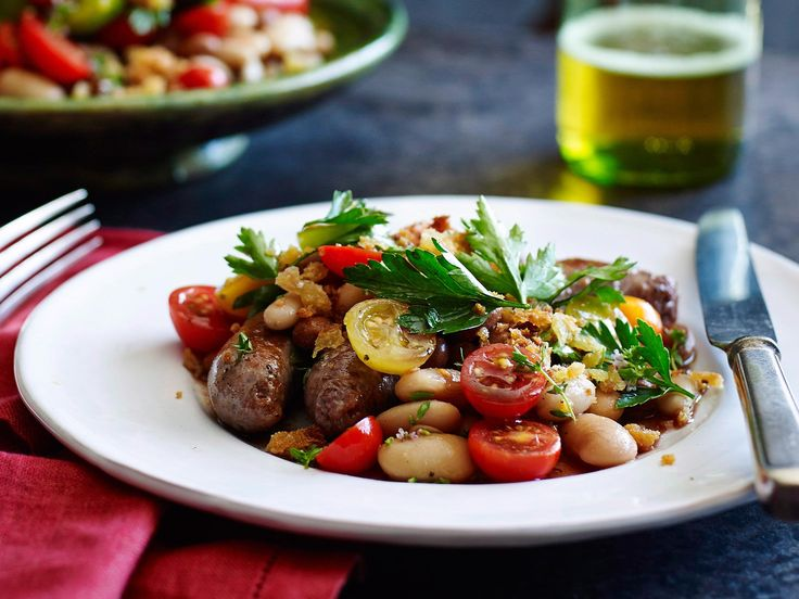 The beans alone are a great flavour-packed dish, but the sausages make it a more robust meal.