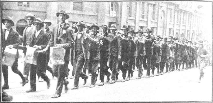 Snapshots of Street Scenes in Sydney Following the Official News of the Armistice - November 1918 - Happy Schoolboys and Their Tin-Can Band