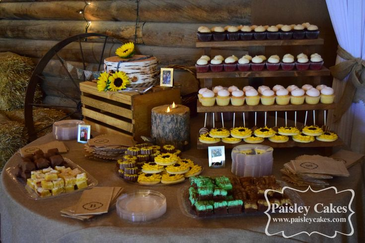 Rustic, country Dessert Buffet. Cupcakes, Cake Pops, Sunflower Sugar Cookies, Brownies, Chocolate covered oreos. Birch Tree Wedding Cake. Sunflower Wedding. Made by Paisley Cakes, Blackfoot Idaho.