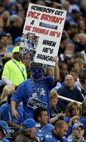 Detroit Lions fan celebrates a Calvin Johnson catch against the Dallas Cowboys.