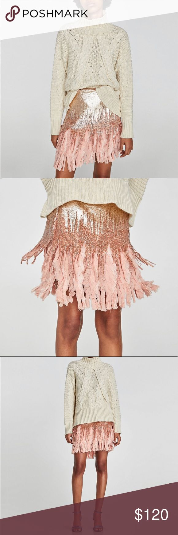ZARA CONTRASTING SEQUIN MINI SKIRT Zara contrasting Sequin Mini Skirt with an almost fringe like Detail at the bottom. Really pretty pink/peach color. Size large. Brand new with tags. Sold out at Zara. Zara Skirts Mini