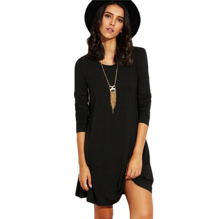 Womens Basic Short Dresses For Autumn 2017 Ladies Solid Black Round Neck Long Sleeve A Line T-shirt Dress