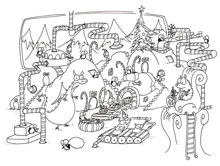 A Free Coloring Page Of Christmas Penguins And Monkeys Working In Factory Making Presents