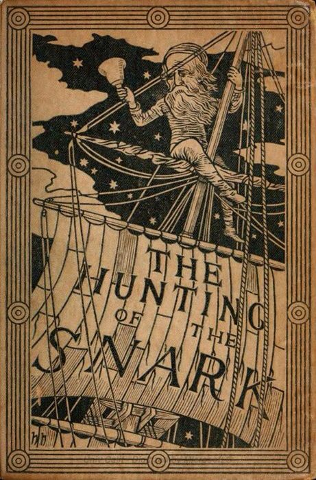 The Hunting of the Snark, first edition book cover of nonsense poetry by Lewis Carroll, with cover and iIlustrations by Henry Holiday. Published by Macmillan, UK, March 29, 1876