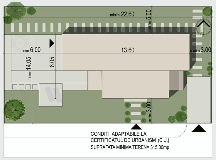 Casa moderna cu etaj- Plan de situatie | Modern single-family dwelling- Site plan | Etichete proiect: case moderne, case cu etaj, case mici