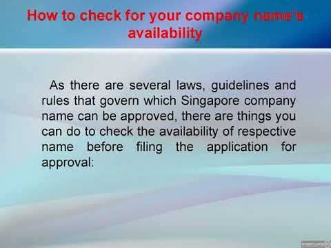 Guide for choosing the right name for your Singapore Company - WATCH VIDEO HERE -> http://singaporeonlinetop.info/travel/guide-for-choosing-the-right-name-for-your-singapore-company/     The name of a company plays a monumental role in a brand's growth and perception, meaning it can completely make or break a company. It is the first thing that is registered in your consumer's minds and that establishes a brand reputation in the long run. To help you choose the right