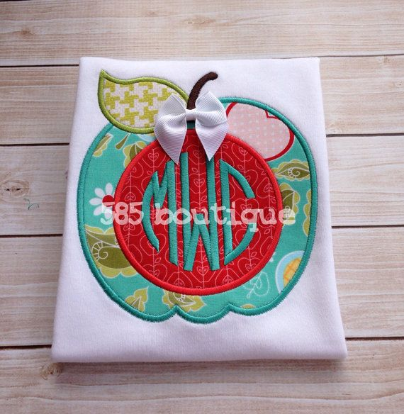 Monogrammed Fall Apple - Back to School - Appliqued and Monogrammed Shirt on Etsy, $24.00 Cute store
