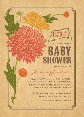 Baby Shower Invitation. Vintage Rustic Baby Shower Invitations. Pink  Flower. Easy To Customize