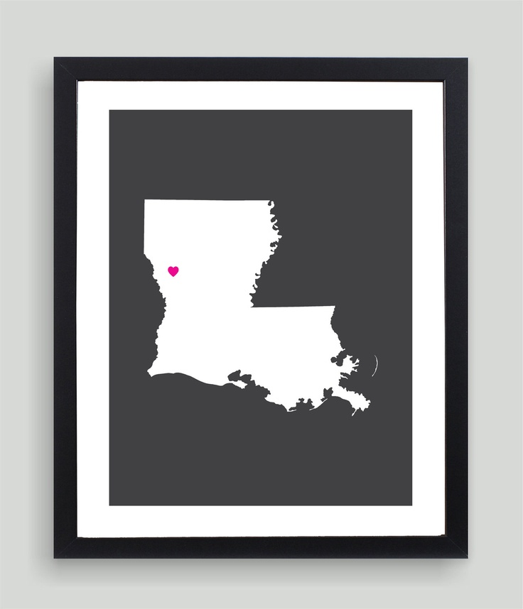 My Heart Resides In Louisiana Art Print - Any City, Town, Country or State Map Customized Silhouette Gift Black Friday AND Cyber Monday Sale. $19.00, via Etsy.