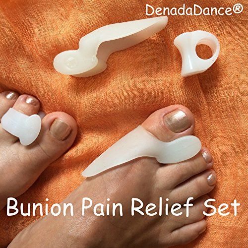 #1 Bunion Relief - 2 Big Toe Protectors & 2 Toe Spacers For Bunions Treatment ★ Universal One Size Bunion Shield / Pad Is Perfect Aid For Hallux Valgus Pain Alleviation ★ Effective Gel Toe Separators / Spacers / Straightener / Spreader For Crooked Toes Alignment & Big Toe Joint Pain Relief ★ Soothe Your Sore Feet, Ease Foot Pain and Prevent Bunion Surgery ★ Best Lifetime DenadaDance® GUARANTEE DenadaDance http://www.amazon.com/dp/B00KUTUNU8/ref=cm_sw_r_pi_dp_POI6ub1Q2EJEA