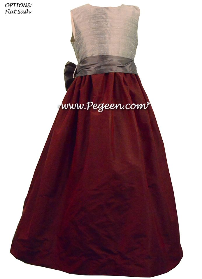 BURGUNDY, PEWTER, AND SILVER JUNIOR BRIDESMAIDS DRESSES STYLE 388 BY PEGEEN