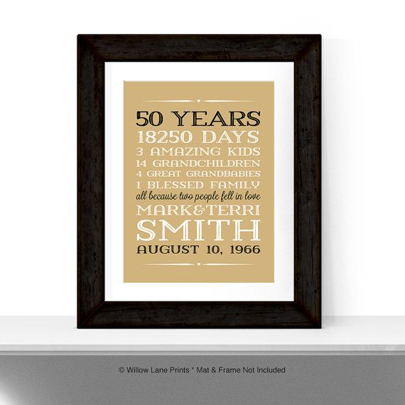 Lovely 50 Year Anniversary Gift Part - 11: 50th Anniversary Gift For Parents Anniversary Gift 50 Year Golden Anniversary  Gift 50th Wedding Anniversary Gift