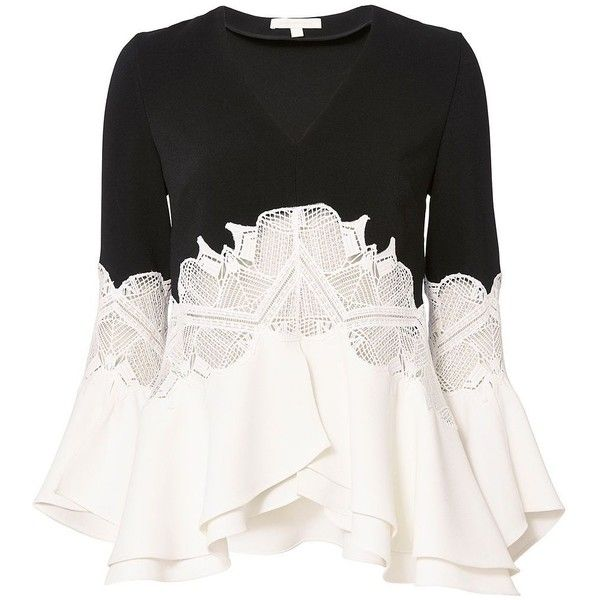 Jonathan Simkhai Women's Ruffled Sleeve Lace Top ($575) ❤ liked on Polyvore featuring tops, shirts, blouses, white ruffle shirt, long sleeve tops, ruffle sleeve top, white long sleeve shirt and flutter sleeve top