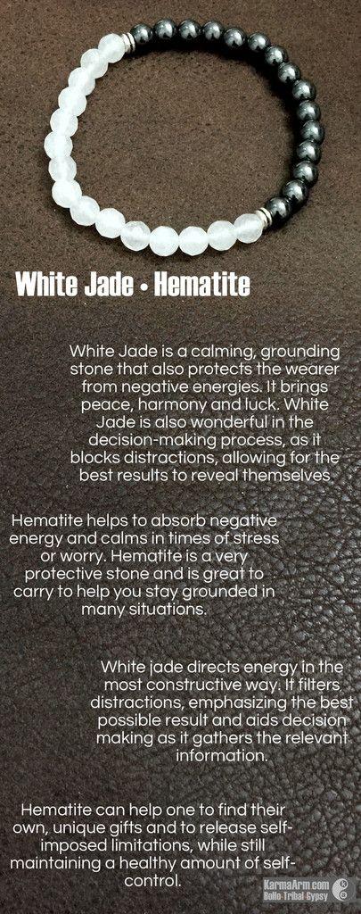 MANTRA: I create harmony around me. - 8mm Faceted Natural White Jade Gemstones - 8mm Black Hematite Gemstones - Tibetan Silver Rondelles - Commercial Strength, Latex-Free Elastic Band - Artisan Crafte