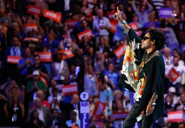 Lenny Kravitz Photos - Recording artist Lenny Kravitz performs during the evening session on the third day of the Democratic National Convention at the Wells Fargo Center, July 27, 2016 in Philadelphia, Pennsylvania. Democratic presidential candidate Hillary Clinton received the number of votes needed to secure the party's nomination. An estimated 50,000 people are expected in Philadelphia, including hundreds of protesters and members of the media. The four-day Democratic National Convention…