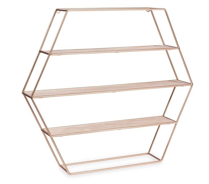 COPPER ROSE GOLD HEXAGON GEOMETRIC MODERN SHELF SHELVES HOME DECOR ACCESSORIES