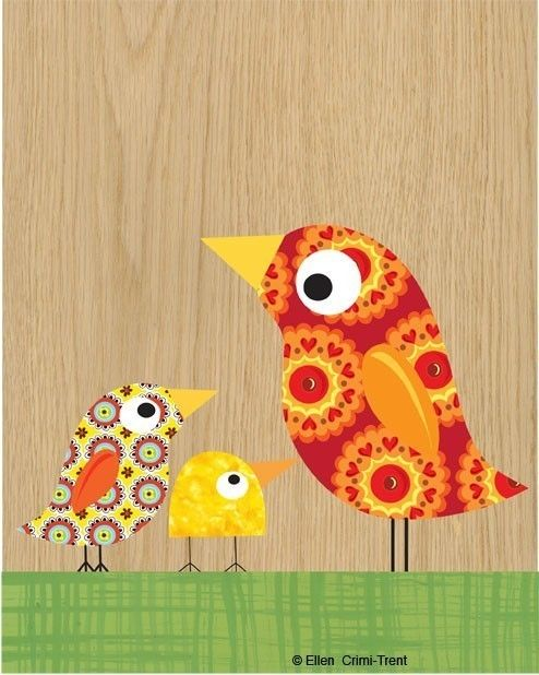 Kids Wall Art Mother and little birds  van EllenCrimiTrent op Etsy, $18.00