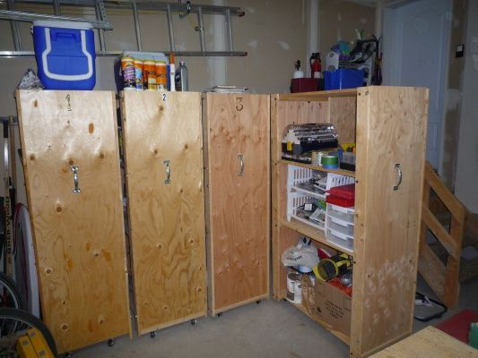 I had a storage problem in my garage that I was able to solve very simply by customizing some wooden IKEA shelving units. Taking inspiration from document archive solutions, I added wheels, plywood to the front and back and a handle to create a mobile storage unit that maximizes storage for the space I have. To finish these off, I will be putting a list of what each shelf contains on the front of the units. Thank you IKEA!